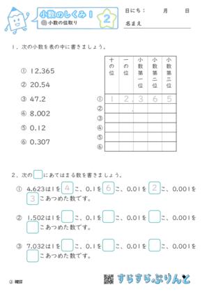 【02】小数の位取り【小数のしくみ1】