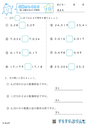 【10】小数の大小と不等号【小数のしくみ5】