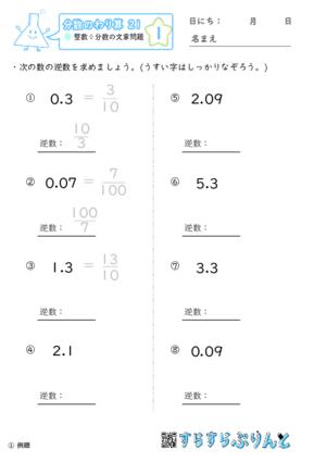 「【分数のかけ算21】小数の逆数」まとめPDF